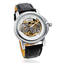 Men's Auto-Mechanical Hollow White Dial Black PU Band Wrist Watch