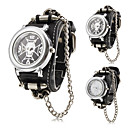 Men's Punk Style Skull Pattern Black PU Band Quartz Wrist Watch (Assorted Colors)