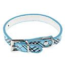 Buy Dog Collar Adjustable/Retractable Plaid/Check Blue Pink Purple PU Leather