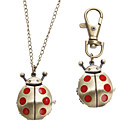 Unisex Ladybug Style Alloy Analog Quartz Keychain Necklace Watch (Bronze)