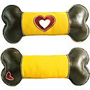 Dogs Cow Leather And Canvas Heart Pattern Bone Style Squeaking Toys