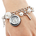 Damenuhr Legierung Armband mit Nachahmungen von Perlen und Schlüssel pendent