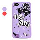 Cute Zircon Zebra Mønster Hard Case for iPhone 4/4S (assorterede farver)