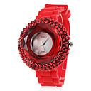 Frauen Zirkon Silikon-Band Quarz-Armbanduhr Analog beiläufige Uhr (Red)