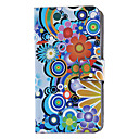 Blooming Krysantemum Pattern Full Body Case-kortspor og Innebygd Matte PC Back Cover for iPhone 4/4S