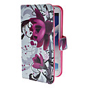 Elegant Purple Flower Pattern PU Leather Case with Stand and Card Slot for Samsung Galaxy Note 2 N7100