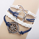 Multilayer Alloy Anchor Infinite Charms Handmade Leather Bracelets