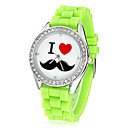 Women's Mustache Pattern Diamante Dial Silicone Band Quartz Analog Wrist Watch (Assorted Colors)