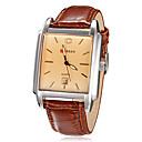Men's Calendar Function Rectangle Case Leather Band Quartz Analog Wrist Watch (Assorted Colors)