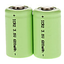 2 x CR2 Universal 3V 600mAh Lithium Great Power oppladbart batteri Grønn