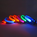 Adjustable Nylon Safety Striped Collar with LED Light for Pets Dogs (Assorted Colors, Sizes)