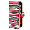 Red Tones Aztec Colorful Stripe Pattern PU Full Body Case with Card Slot and Stand for iPhone 5C