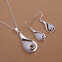 Sweet Silver Plated (Necklace & Earrings) Jewelry Set (Silver)
