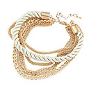 Fashion 7Cm Women'S Golden Alloy Chain & Link Bracelet(Black,White)(1 Pc)