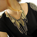 Vintage (Leaves And Tassels Pendant) Gold Alloy Torque(1 Pc)