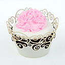 12pcs Silicone White Floral Cupcake Wrapper, Laser Cut, Party/Wedding/Birthday Favor Decoration