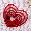 DIY 6Pcs/Set Red Heart <Unterschiedliche HALLO-Q Kunststoff Biscuit Cookie Cutter