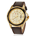 Men's Calendar Round Dial Pu Leather Band Quartz Analog Wrist Watch (Assorted Colors)