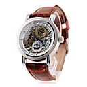 Men's Auto-Mechanical Elegant Silver Skeleton Brown Leather Band Wrist Watch