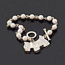 Joyería clásica Rhinestone brazalete de perlas de imitación de perro