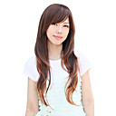 High Quality Synthetic Capless Long Curly Light Brown Side Bang Wigs
