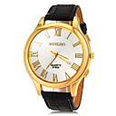 Men's Gold Roman Number Dial PU Band Quartz Wrist Watch(Assorted Colors)
