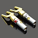 MaiTech Y Plug Speaker Connector Fork - Golden + Silver (2 PCS)