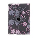 Kinston 360 Degree Rotatable Statue Of Black Bottom Five Petals Pattern PU Leather Full Body Case with Stand for iPad Air