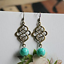 Vintage Bronze Copper Drop Earrings(Green)(1 Pair)