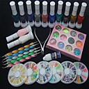 37PCS Nail Art Decoration Kit Polish Glue Rhinestones Clipper Dotting Tool