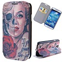 Cartoon Skulls Marilyn Pattern Full Body Case with Stand PU Leather Case for Samsung Galaxy S4 I9500