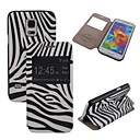 Elonbo Fashion Zebra Mat Lines PU leather Flip Stand Full Body Case with Window for Samsung Galaxy S5 Mini