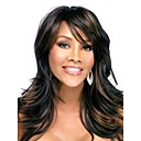 Capless Long Black Synthetic Wig Side Bang