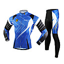 fjqxz maillot cyclisme vélo manches longues + collants pour hommes 3d mince coupe maillot de vélo respirant - noir + bleu