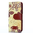Butterfly Pattern Oxhide Character Retro PU Leather Case for iPhone4/4S