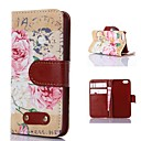 Peony Pattern PU Leather Case for iPhone 4/4S