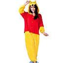 Buy Kigurumi Pajamas Bear / Raccoon Leotard/Onesie Halloween Animal Sleepwear Red Yellow Patchwork Flannel Unisex