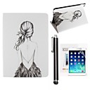 Beautiful Girl PU Leather Full Body Case with Screen Protector and Touch Screen Pen Case for iPad mini/mini 2