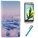 Beautiful Clouds Design PU Leather Full Body Case with Screen Protector, Stylus and Stand for HTC One M8