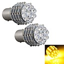 2pcs voiture 1157 BA15s tournent lampe ampoule parking de queue du signal jaune 45 LED 12V lumière