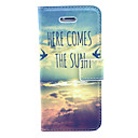 Sun Comming Here View Pattern PU Leather Case Cover with Stand and Card Holder for iPhone 5/5S