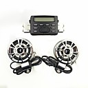 Motorcycle Sound Audio Radio System Handlebar FM MP3 Stereo 2 Speakers ATV Bike