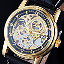 Men's Watch Auto-Mechanical Watch Gold Hollow Engraving Elegant PU Band Cool Watch Unique Watch