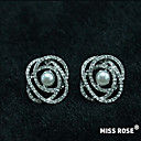 Miss ROSE®White Gold Plated Zircon Pearl Solar System Pattern Earrings