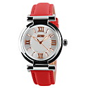 Buy Women's Fashion Watch Casual Quartz Japanese Leather Band Black White Blue Red Pink Brand SKMEI