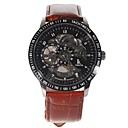Men's Leather Band Self-Winding Mechanical Wrist Watch  (Brown)