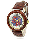Women's Wood Gold Case Round Dial Brown Leather Band Quartz Wrist Watch