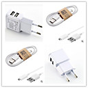 Dual Usb EU Plug AC Wall Charger with 100cm Micro USB Cable for Samsung S6/S4/S3/S2  SONY/LG and Others