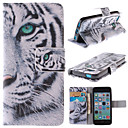 White Tiger Design PU Leather Full Body Case with Stand and Card Slot for iPhone 5C