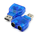 Buy USB 2.0 PS2 PS/2 Converter Adapter Connector PC Mouse Keyboard Blue